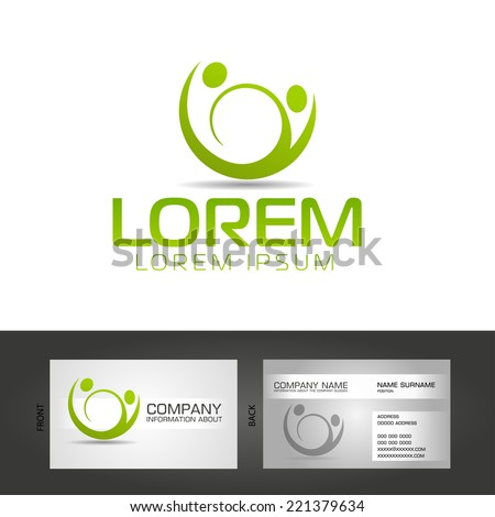 abstract man design concept onlain Academy and fitness vector logo design template , business card design template - stock vector