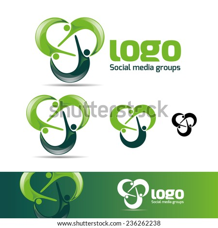 abstract man design concept online Academy and fitness vector logo design template , business card design template - stock vector