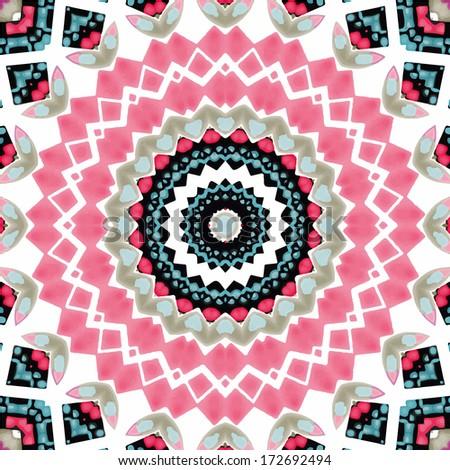 Abstract mandala / kaleidoscope symmetrical colorful decoration vector background - stock vector