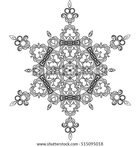 abstract mandala snowflake line art design stock vector 515095018 ... - Mandala Snowflakes Coloring Pages