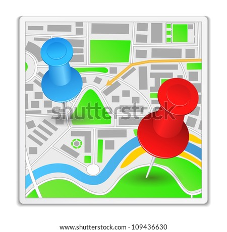 Abstract map icon, vector eps10 illustration - stock vector