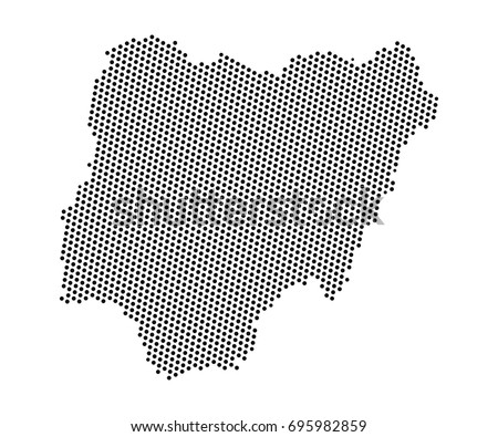 Abstract map nigeria dots planet lines stock vector hd royalty free abstract map of nigeria dots planet lines global world map halftone concept vector gumiabroncs Gallery