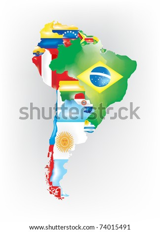Abstract map of south america colored by flags - stock vector