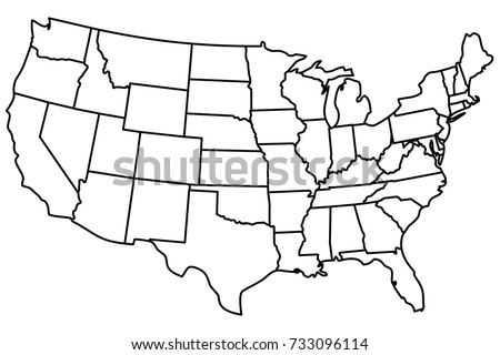 United States America Continuous Line Drawing Stock Vector