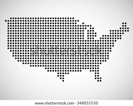 Dotted Usa Map On White Stock Vector Shutterstock - Usa map eps