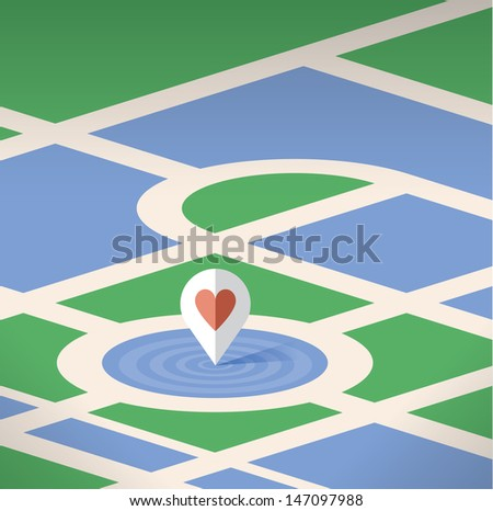 Abstract map pin pointer icon with heart symbol on the map. Selective focus effect. Idea - Searching for love concept with copy space for your love words.  - stock vector