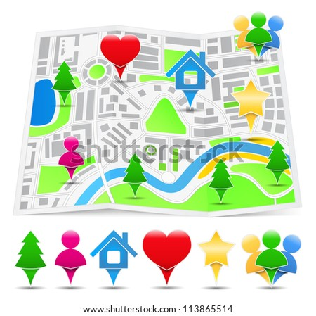 Abstract map with different map markers, vector eps10 illustration - stock vector