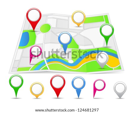 Abstract map with different map pins, vector eps10 illustration