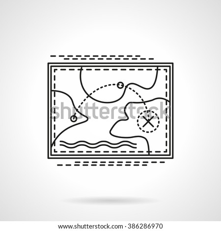 Abstract map with tourist rout. Travel destinations. Travel and tourism. Flat thin line style vector icon. Single design element for website, business.