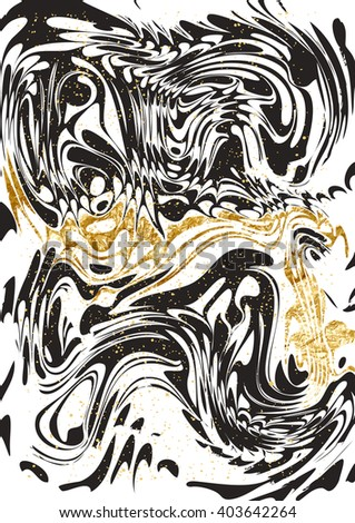 Abstract marble paint pattern with gold.