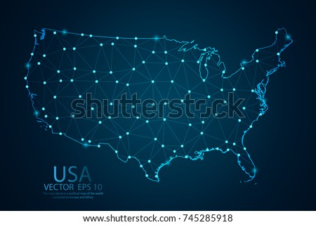 Map United States America Glowing Point Stock Vector - Map of united state of america