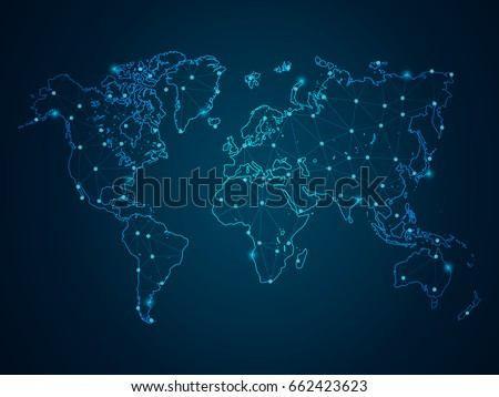 Abstract mash line point scales on vector de stock662423623 abstract mash line and point scales on dark background with map world wire frame 3d gumiabroncs Image collections
