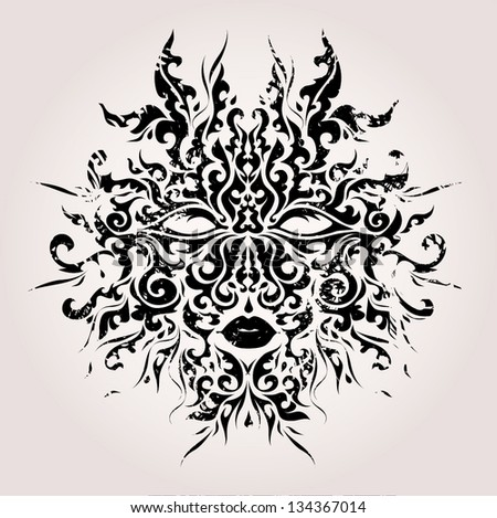 Abstract mask vector illustration - stock vector