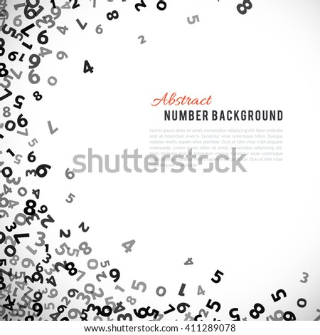 Abstract math number background. Vector number background. Black number background. Number border. Math number layer. Business number cover. Count number background. School background. Report cover - stock vector