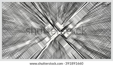 Abstract matrix wireframe space of virtual zoom. Vector construction graphic idea. - stock vector