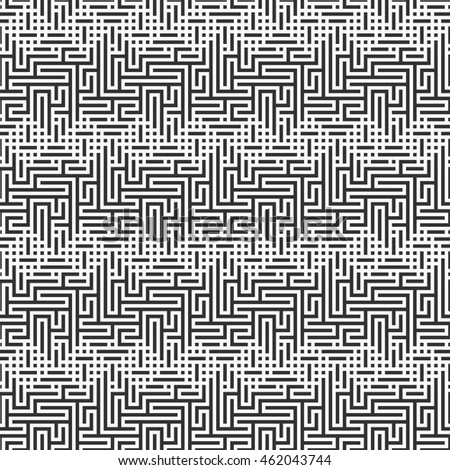Abstract maze strokes based geometric motif. Seamless pattern.