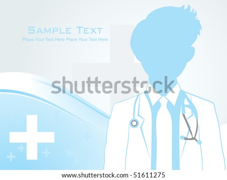 abstract medical background with doctor silhouette - stock vector