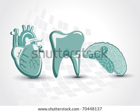 abstract medical background with heart, brain, teeth - stock vector
