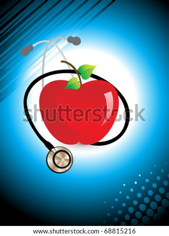 abstract medical background with stethoscope and fresh red apple - stock vector