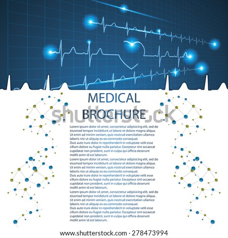 Abstract medical cardiology ekg background  brochure - stock vector