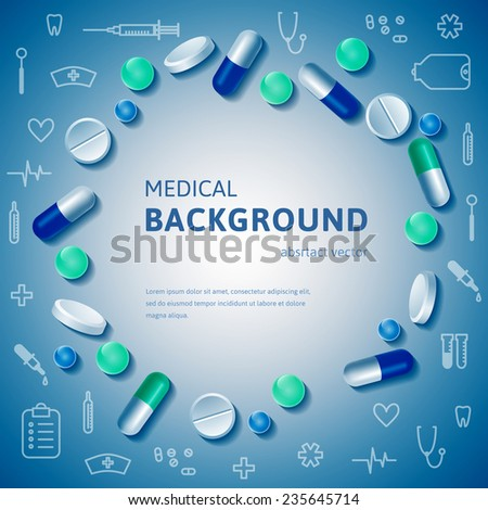 Abstract medical circle posed banner with realistic pills and outline medical supplies. Vector illustration. - stock vector
