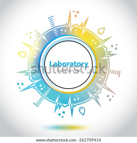 Abstract medical emblem - yellow and blue background - Science and Research - laboratory facilities - laboratory test - stock vector