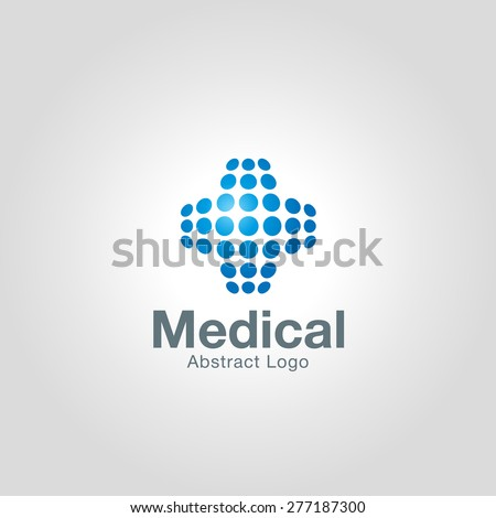 Abstract Medical logo template made of dots. Corporate branding identity - stock vector
