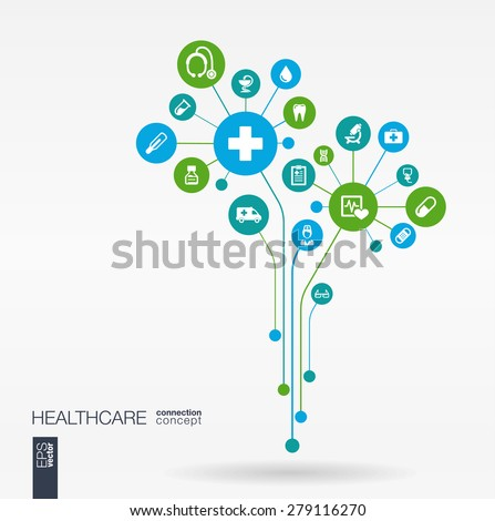 Abstract medicine background with lines, connected circles, integrated flat icons. Growth flower concept with medical, health, care, thermometer and cross icon. Vector interactive illustration. - stock vector