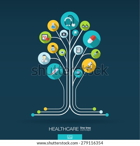 Abstract medicine background with lines, connected circles, integrated flat icons. Growth tree concept with medical, health, healthcare, thermometer and cross icon. Vector interactive illustration. - stock vector