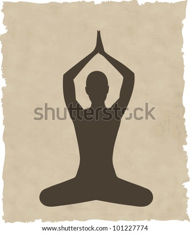 abstract meditating people background - vector illustration - stock vector