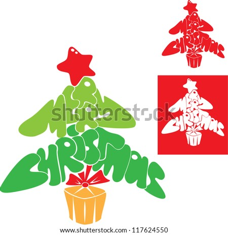 Abstract Merry Christmas card - Christmas tree is made of letters - stock vector