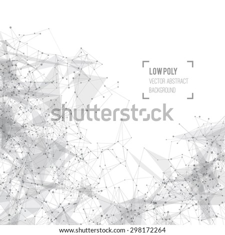 Abstract mesh background with circles, lines and shapes. Futuristic Design - stock vector