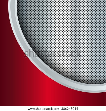 Abstract metal background. Red and silver. Vector design template