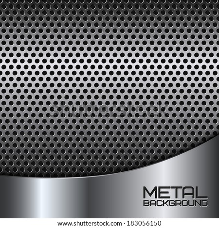 Abstract metal background with steel silver chrome surface and perforation vector illustration - stock vector