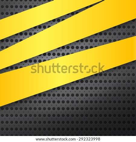 Abstract metal background with yellow lines. Vector illustration. - stock vector