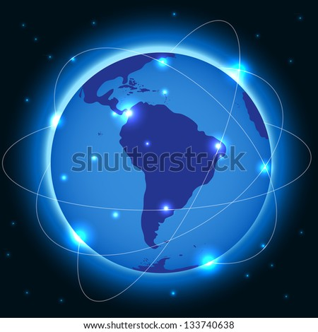 Abstract metal connection concept earth  background - stock vector