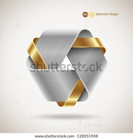Abstract metal shape with steel and gold elements - vector illustration - stock vector