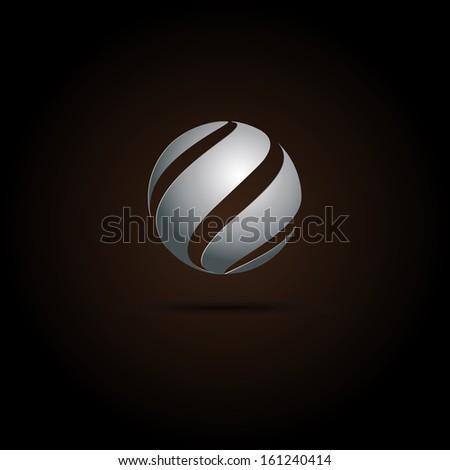 Abstract Metal Spiral sphere. Vector design  - stock vector
