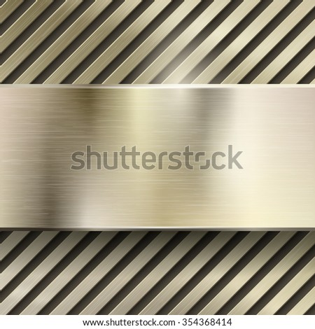 Abstract metal vector background. Metallic steel or iron pattern glossy, polished panel, grid or striped, brushed gold illustration - stock vector