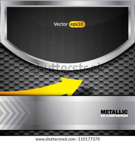 Abstract metallic vector background with yellow arrow - stock vector