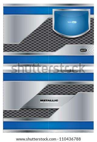 Abstract metallic vector brochure - stock vector