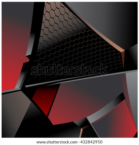 Abstract metallic with hexagon background, vector illustration and design - stock vector