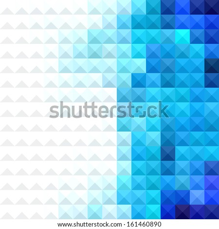 abstract minimal background with white and blue pixels - stock vector