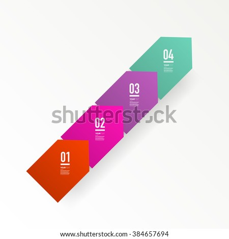 Abstract minimal colorful square text box design with numbers and your text can be used for workflow layout, number options, web design.  Eps 10 stock vector illustration  - stock vector