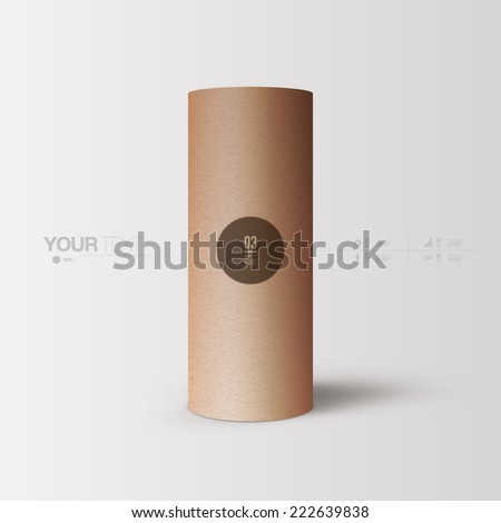 Abstract minimal 3D paper tube object with your text   Eps 10 stock vector illustration  - stock vector