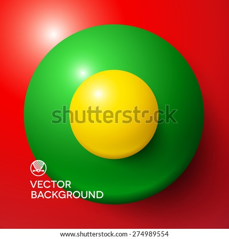 Abstract minimal frame with colorful balls and copy space - stock vector