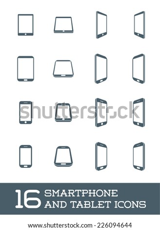 Abstract Minimal Style Modern Mobile Smartphone and Tablet Icon Set of 16  - stock vector