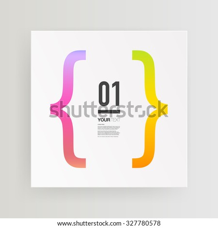 Abstract minimal text box design with colorful bracket and your text  Eps 10 stock vector illustration  - stock vector