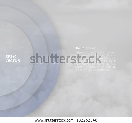 Abstract minimal vector design of circle shaped banner or text box with sky background for web, brochure, print, infographics or other medium - stock vector