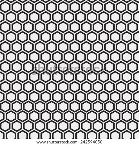 Abstract minimalistic black and white pattern hexagon - stock vector